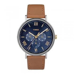 [100% Original] Timex TW2R29100 Men's Southview 41mm Multifunction Tan/Blue Leather Strap Watch (watch for men / jam tangan lelaki / timex watch for men / timex watch / men watch)