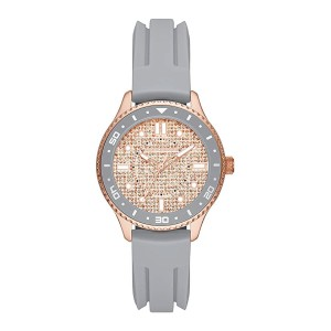 [100% Original] Skechers SR9062 Women's Analog Quartz Grey Silicone Strap Watch Gift Set