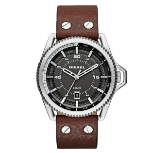 Diesel DZ1716 Men's Rollcage Quartz Black Leather Watch