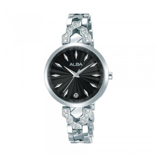 [Official Warranty] Alba AG8H75X AG8H75X1 Women's Analog Quartz Black Dial Silver Stainless Steel Strap Watch (watch for women / jam tangan perumpuan / alba watch for women / alba watch / women watch)