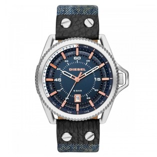 Diesel DZ1727 Men's Rollcage Quartz Blue Denim Blue Leather Watch