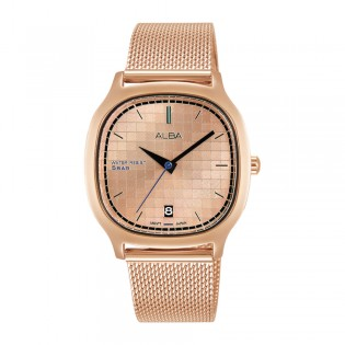 [Official Warranty] Alba AG8K96X AG8K96X1 Women's Analog Quartz Square Rose Gold Dial Stainless Steel Strap Watch (watch for women / jam tangan perumpuan / alba watch for women / alba watch / women watch)