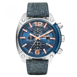 Diesel DZ4374 Men's Overflow Chronograph Quartz Blue Leather Denim Watch