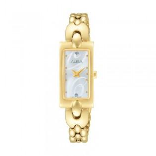 [Official Warranty] Alba AEGD40X AEGD40X1 Women's Analog Quartz Rectangle Gold Stainless Steel Strap Watch (watch for women / jam tangan perumpuan / alba watch for women / alba watch / women watch)