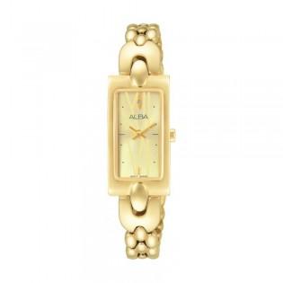 [Official Warranty] Alba AEGD38X AEGD38X1 Women's Analog Quartz Rectangle Gold Stainless Steel Strap Watch (watch for women / jam tangan perumpuan / alba watch for women / alba watch / women watch)