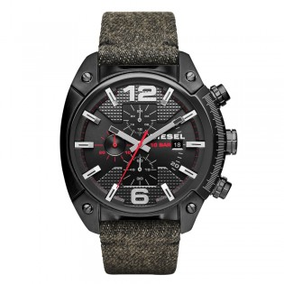 Diesel DZ4373 Men's Overflow Chronograph Quartz Black Leather Denim Watch