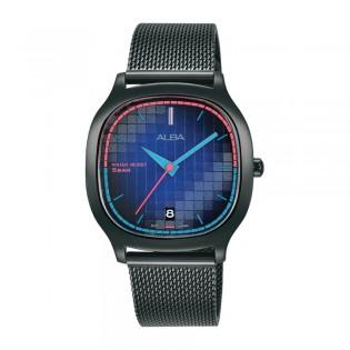 [Official Warranty] Alba AG8L09X AG8L09X1 Women's Tokyo Neon Analog Quartz Square Black Stainless Steel Strap Watch (watch for women / jam tangan perumpuan / alba watch for women / alba watch / women watch)