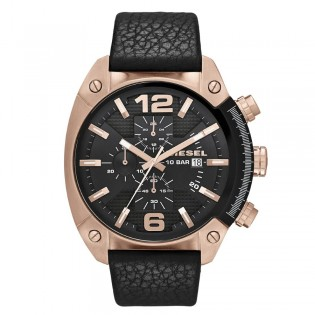 Diesel DZ4297 Men's Overflow Chronograph Quartz Bold  Black Leather Denim Watch