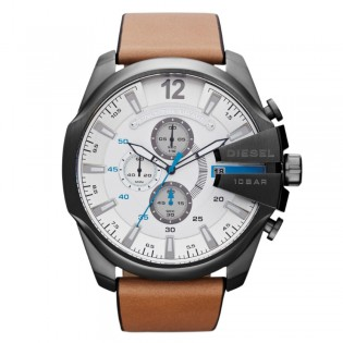 Diesel DZ4280 Men's Mega Chief Quartz Brown Leather Watch