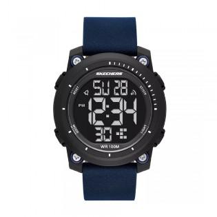 [Official Warranty] Skechers SR5164 Men's Digital Quartz Black Plastic Case Blue Leather Strap Watch