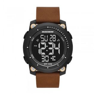 [Official Warranty] Skechers SR5165 Men's Digital Quartz Black Plastic Case Brown Leather Strap Watch