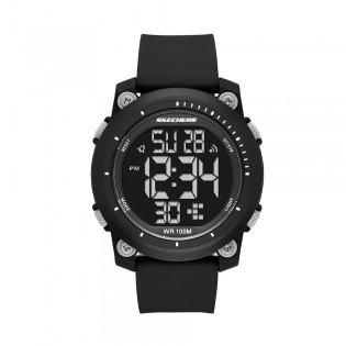 [Official Warranty] Skechers SR5166 Men's Digital Quartz Black Plastic Case Black Silicone Strap Watch