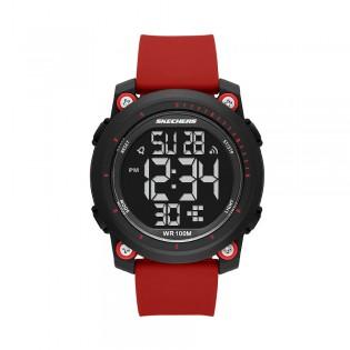 [Official Warranty] Skechers SR5167 Men's Digital Quartz Black Plastic Case Red Silicone Strap Watch