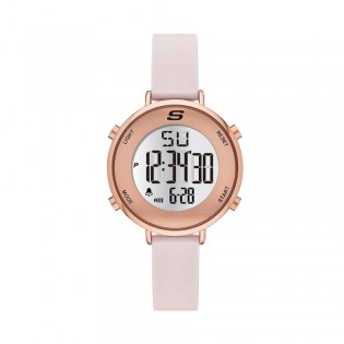 [Official Warranty] Skechers SR6168 Women's Magnolia Quartz Digital Rose Gold-Tone Case Blush Pink Silicone Strap Watch