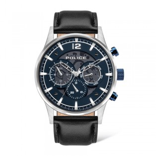 [Official Warranty] Police PEWJF2002801 Men's Driver Multifunction Blue Dial Black Leather Strap Watch (watch for man / jam tangan lelaki / police watch for men / police watch / men watch / watch for men)