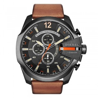 Diesel DZ4343 Men's Mega Chief Quartz Brown Leather Watch