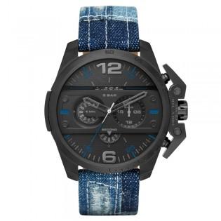 Diesel DZ4397 Men's Ironside Chronograph Denim Leather Strap Watch