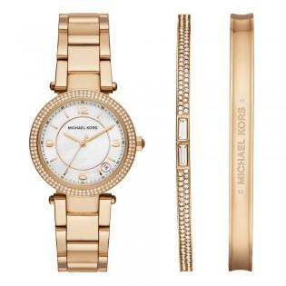 Michael Kors MK3505 Women's Delray Quartz Gold Watch & Jewelry Set