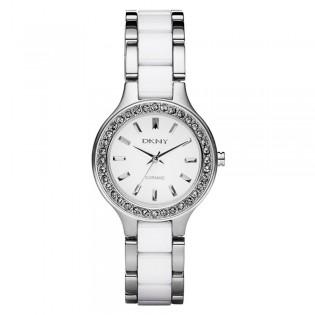 DKNY NY8139 Women's Silver-Tone Ceramic  Glitz Quartz Watch