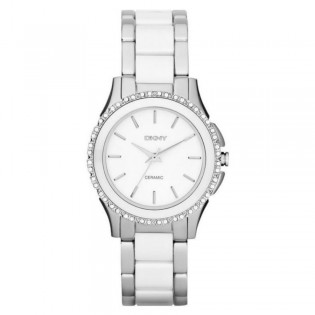 DKNY NY8818 Women's White and Silver Two Tone Glitz Quartz Watch