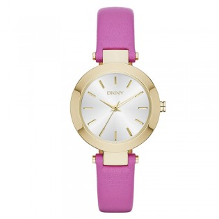 DKNY NY2414 Women's Stanhope Three Hand Pink Leather Quartz Watch