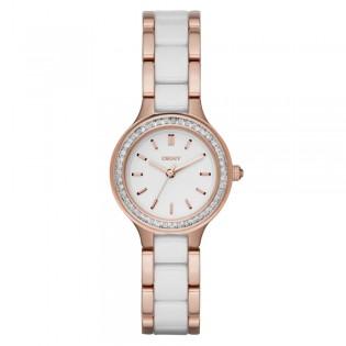DKNY NY2496 Women's Chambers White Ceramic and Rose Gold Quartz Watch