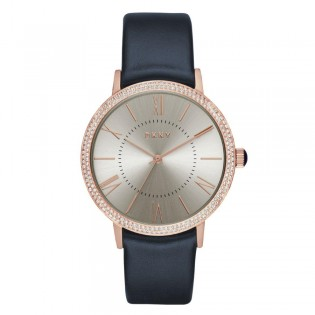 DKNY NY2546 Women's Willoughby Rose Gold and Navy Leather Quartz Watch