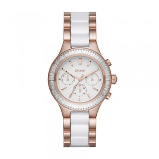 DKNY NY2498 Women's Chambers White Ceramic and Rose Gold Multifunction Quartz Watch