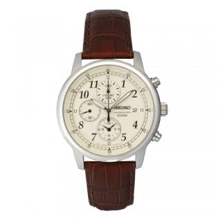 Seiko SNDC31P1 Men's Chronograph Brown Leather Strap Watch
