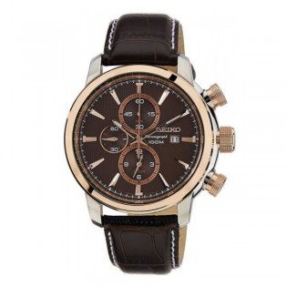 Seiko SNAF52P1 Men's Chronograph Alarm Leather Watch