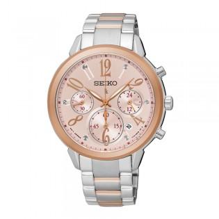 Seiko SRW818P1 Women's Lukia Chronograph Sapphire Crystal Steel Watch