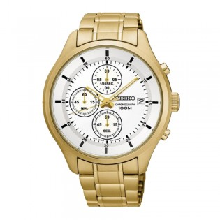 Seiko SKS544P1 Men's Chronograph Quartz Gold Plated Steel Watch