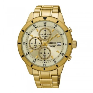 Seiko SKS566P1 Men's Chronograph Quartz Gold Plated  Steel Watch
