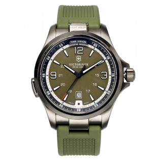 Victorinox Swiss Army 241595 Men's Night Vision Quartz Green Rubber Strap Watch